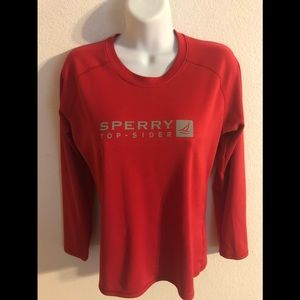 Sperry Top Sider Logo LS Knit Tee STS35 Red Sz. M